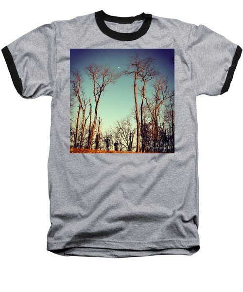 Moon Between The Trees Baseball T-Shirt by Kerri Farley