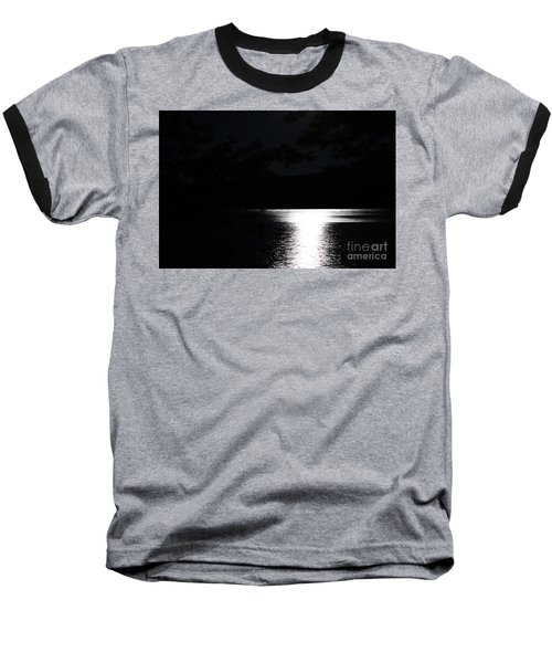 Moon On Waterton Lake Baseball T-Shirt