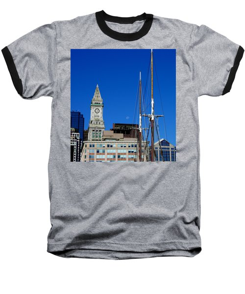 Moon Over Boston Baseball T-Shirt