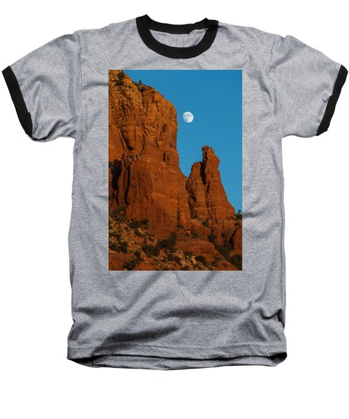 Moon Over Chicken Point Baseball T-Shirt by Ed Gleichman