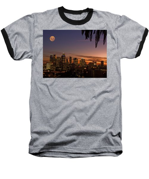 Moon Over L.a. Baseball T-Shirt