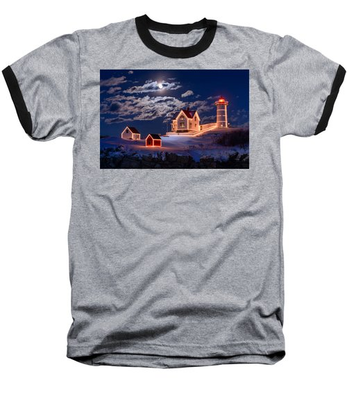 Moon Over Nubble Baseball T-Shirt