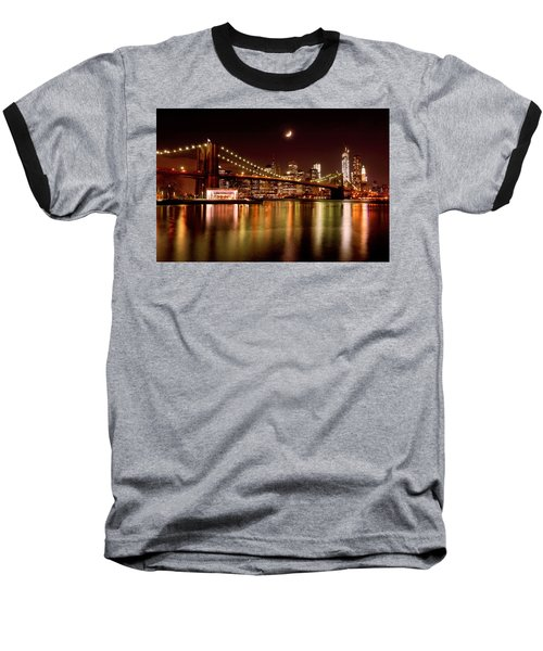 Moon Over The Brooklyn Bridge Baseball T-Shirt