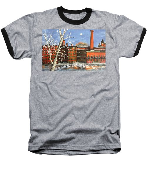 Moon Over Waltham Watch Baseball T-Shirt by Rita Brown