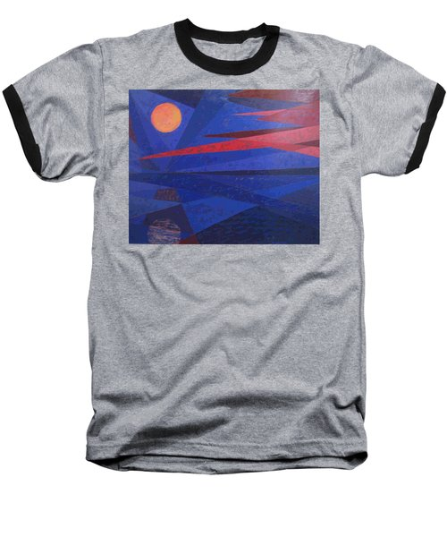 Baseball T-Shirt featuring the painting Moon Reflecting On A Lake by Walter Casaravilla