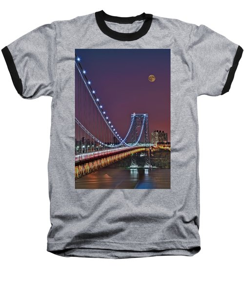 Moon Rise Over The George Washington Bridge Baseball T-Shirt by Susan Candelario
