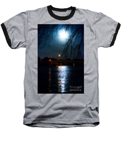 Moon Set Lake Pleasurehouse Baseball T-Shirt by Angela DeFrias
