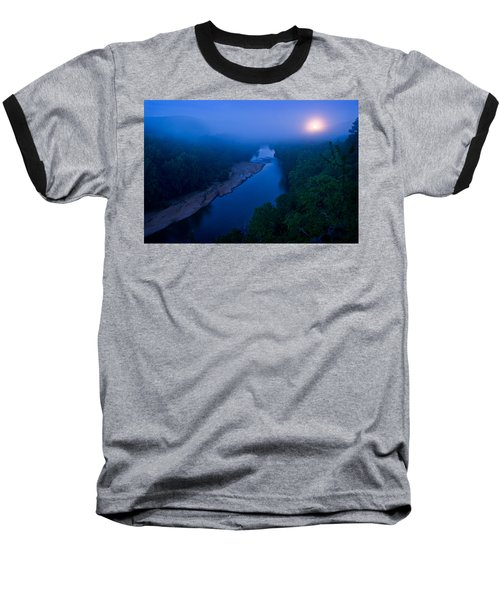 Moon Setting Over The Current River Baseball T-Shirt