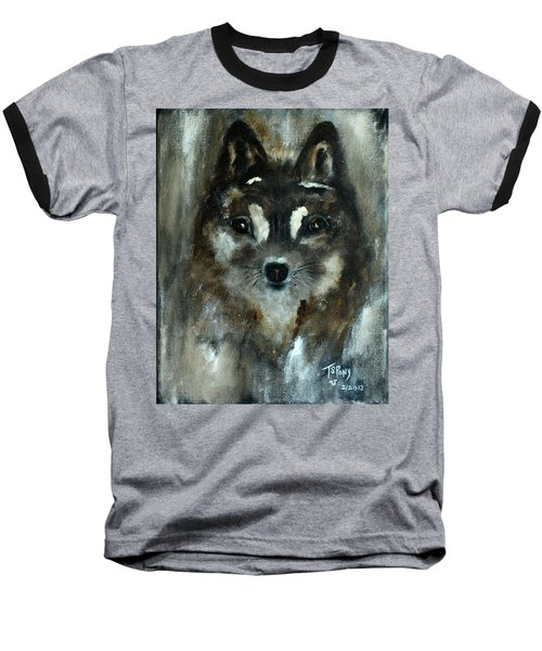 Baseball T-Shirt featuring the painting Moon Shadow The Baby Fox by Barbie Batson