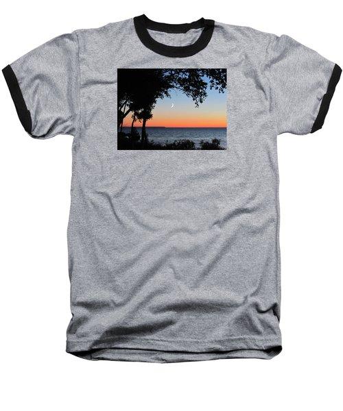 Moon Sliver At Sunset Baseball T-Shirt by David T Wilkinson