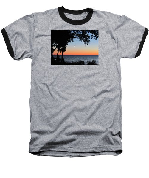 Moon Sliver At Sunset Baseball T-Shirt