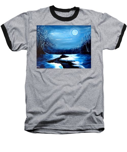 Moon Snow Trees River Winter Baseball T-Shirt