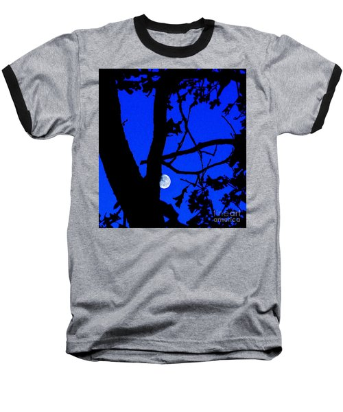 Baseball T-Shirt featuring the photograph Moon Through Trees 2 by Janette Boyd