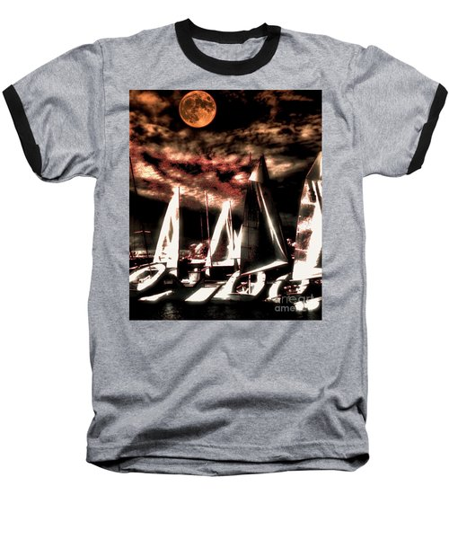 Baseball T-Shirt featuring the tapestry - textile Moonlight Cruise by Robert McCubbin