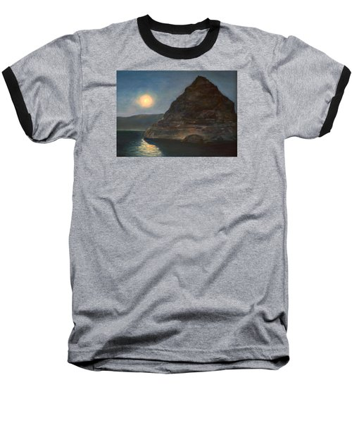Baseball T-Shirt featuring the painting Moonlight On Pyramid Lake by Donna Tucker