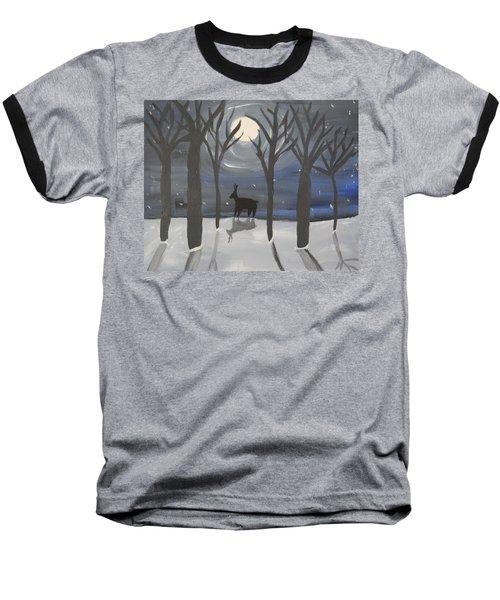 Moonlight On Snow Baseball T-Shirt