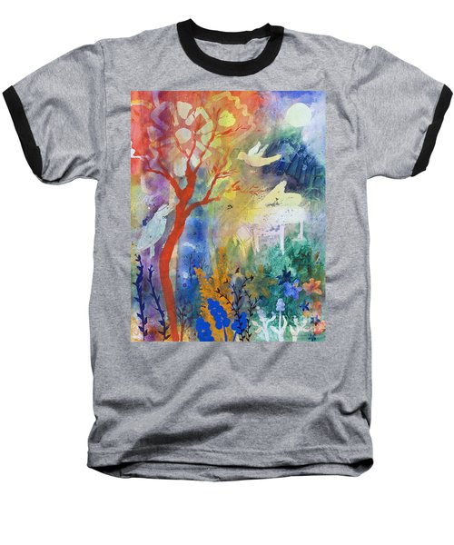 Baseball T-Shirt featuring the painting Moonlight Serenade by Robin Maria Pedrero