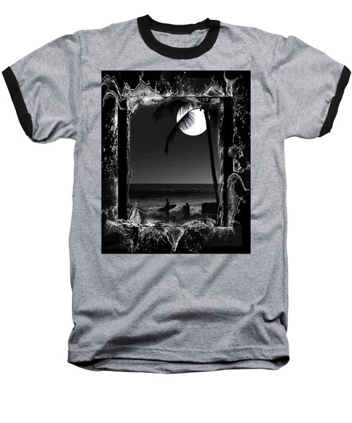 Moonlight Surf Baseball T-Shirt by Athala Carole Bruckner