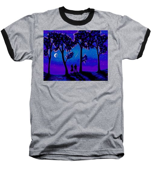 Baseball T-Shirt featuring the painting Moonlight Walk by Sophia Schmierer