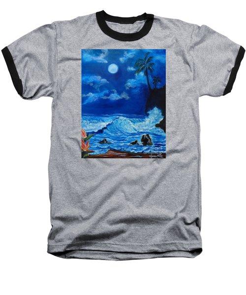 Moonlit Hawaiian Night Baseball T-Shirt by Jenny Lee