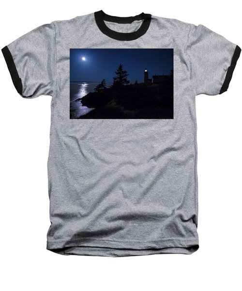 Baseball T-Shirt featuring the photograph Moonlit Panorama West Quoddy Head Lighthouse by Marty Saccone