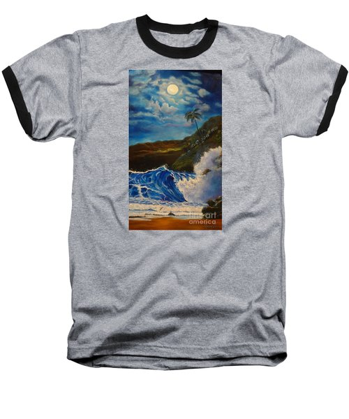 Baseball T-Shirt featuring the painting Moonlit Wave 11 by Jenny Lee