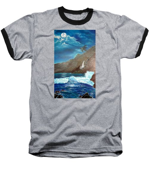 Baseball T-Shirt featuring the painting Moonlit Wave by Jenny Lee