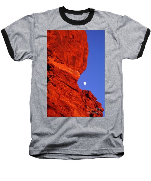 Baseball T-Shirt featuring the photograph Moonrise Balanced Rock Arches National Park Utah by Dave Welling