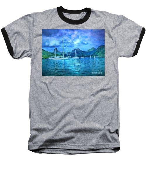 Baseball T-Shirt featuring the digital art Moonrise In Mo'orea by Lianne Schneider