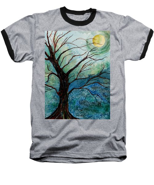 Moonrise In The Wild Night Baseball T-Shirt