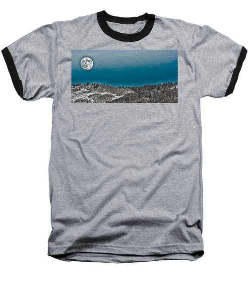 Baseball T-Shirt featuring the photograph Moonrise Over The Mountain by Don Schwartz