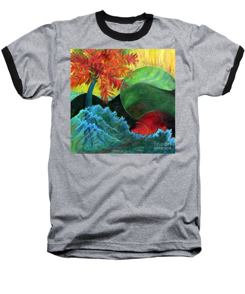 Baseball T-Shirt featuring the painting Moonstorm by Elizabeth Fontaine-Barr