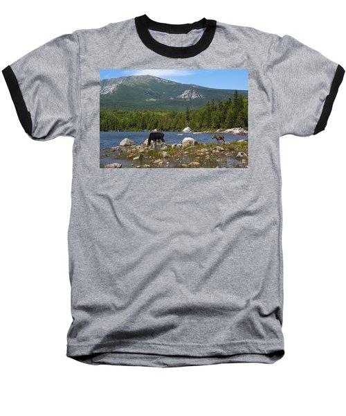 Moose Baxter State Park Maine Baseball T-Shirt by Glenn Gordon
