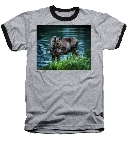 Moose In The Water Baseball T-Shirt