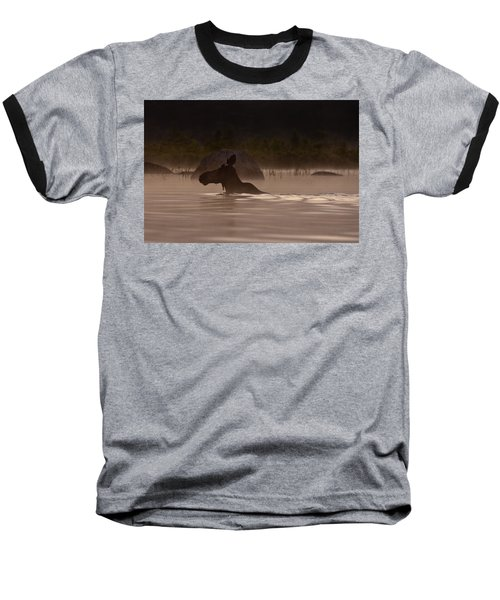 Moose Swim Baseball T-Shirt by Brent L Ander