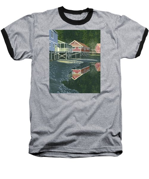 Baseball T-Shirt featuring the painting Morning At Telegraph Cove by Gary Giacomelli