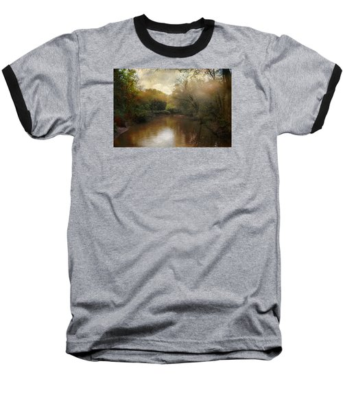 Morning At The River Baseball T-Shirt by John Rivera