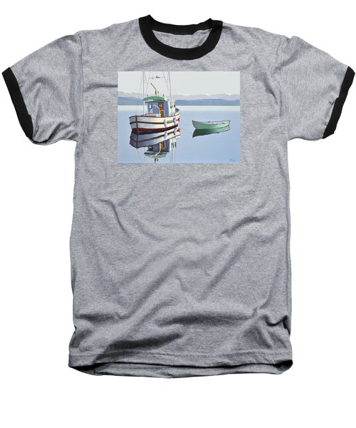 Morning Calm-fishing Boat With Skiff Baseball T-Shirt by Gary Giacomelli