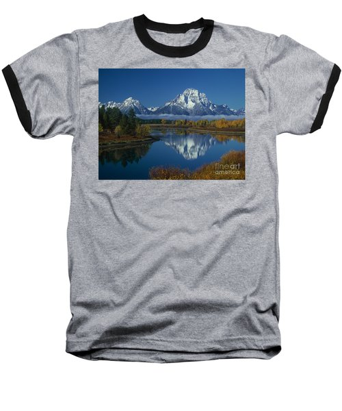 Morning Cloud Layer Oxbow Bend In Fall Grand Tetons National Park Wyoming Baseball T-Shirt by Dave Welling