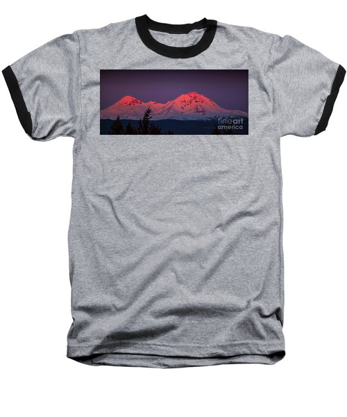 Morning Dawn On Two Of Three Sisters Mountain Tops In Oregon Baseball T-Shirt