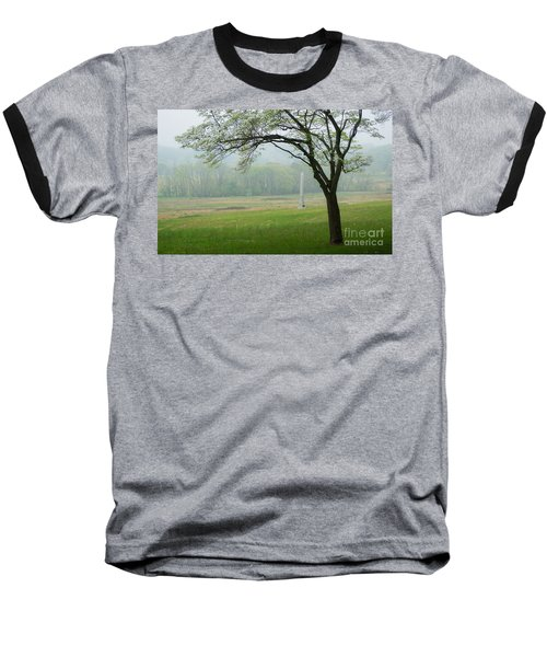Baseball T-Shirt featuring the photograph Morning Fog At The Monument by Rima Biswas