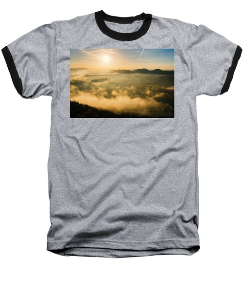 Morning Fog In The Saxon Switzerland Baseball T-Shirt