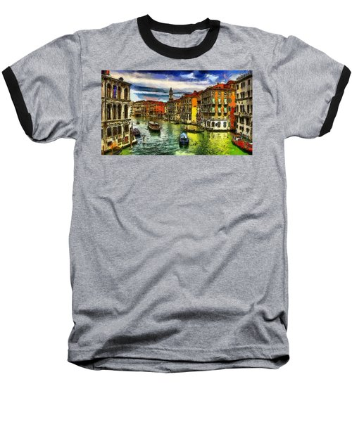 Baseball T-Shirt featuring the painting Beautiful Morning In Venice, Italy by Georgi Dimitrov