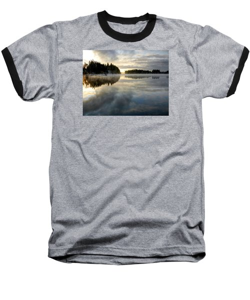 Morning Lake Reflection Baseball T-Shirt by Peter Mooyman