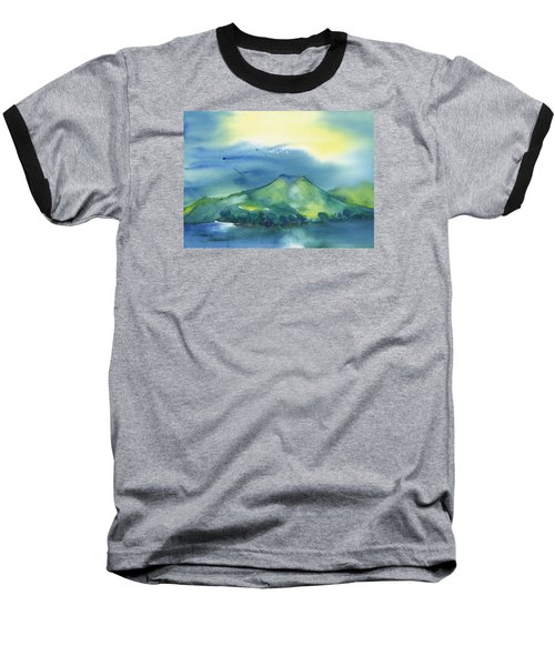 Baseball T-Shirt featuring the painting Morning Over The Mountain by Frank Bright
