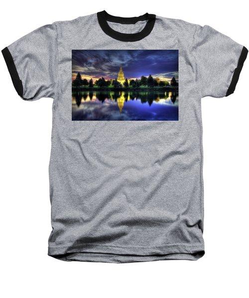 Morning Reflections Of Idaho Falls Temple  Baseball T-Shirt
