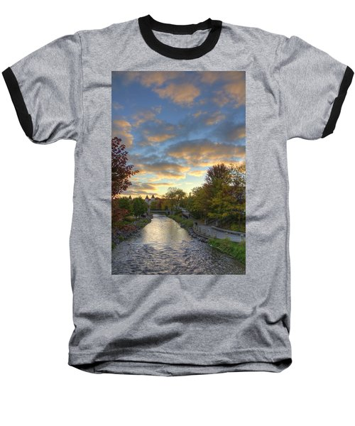 Morning Sky On The Fox River Baseball T-Shirt by Daniel Sheldon