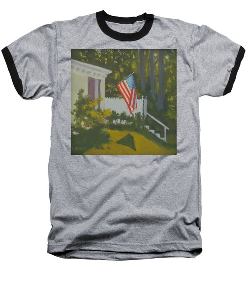 Morning Sun On Old Glory - Art By Bill Tomsa Baseball T-Shirt