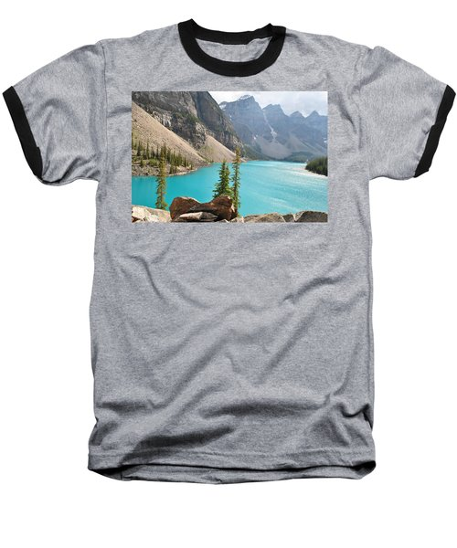 Morraine Lake Baseball T-Shirt by Jim Hogg