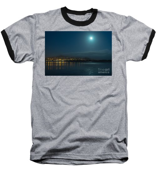 Morro Bay At Night Baseball T-Shirt